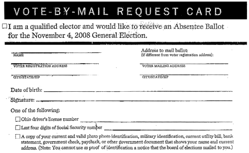 The Ohio Absentee Ballot Request Card Issue | Alas, a Blog