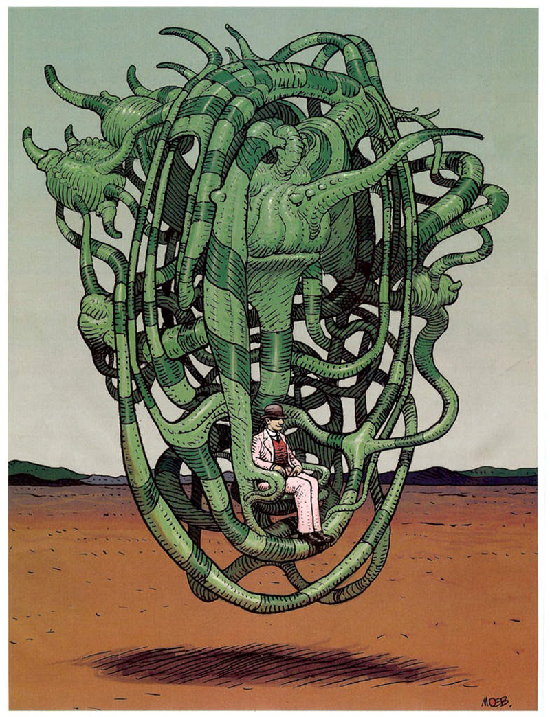 Check out this lovely gallery of drawings by Moebius, of humans riding odd ...